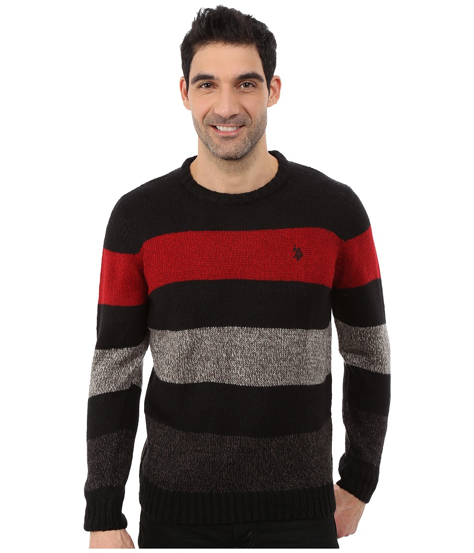 U.S. POLO ASSN. - Crew Neck Stripe Sweater (Black) Men