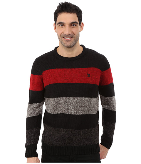 U.S. POLO ASSN. - Crew Neck Stripe Sweater (Black) Men's Sweater