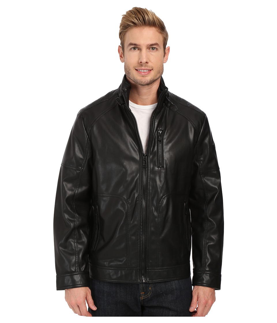 Calvin Klein - Smooth Faux Leather Jacket (Black) Men's Coat