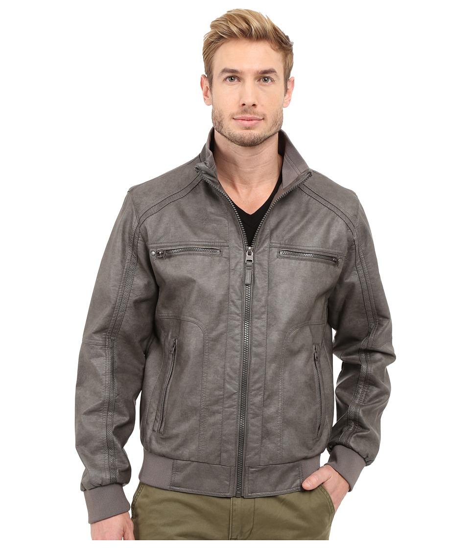 Calvin Klein - Faux Leather Bomber (Grey) Men's Coat