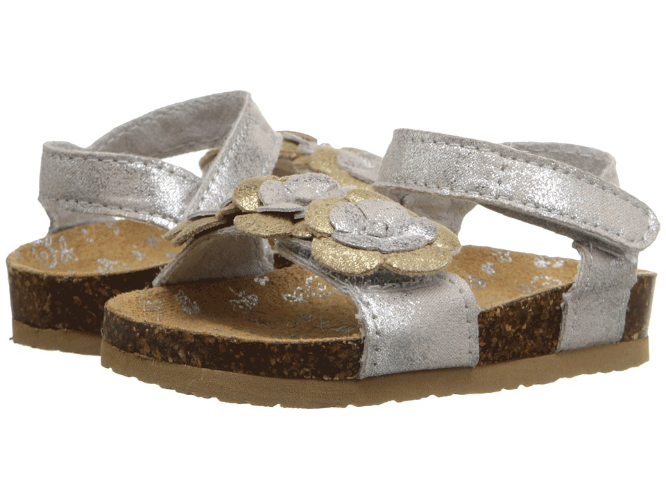 Baby Deer - Double Strap Sandal with Flowers (Infant/Toddler) (Metallic Silver) Girls Shoes