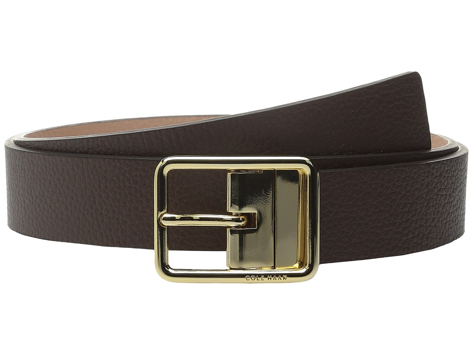Cole Haan - 1/4 Reversible Pebble Leather Belt with Centerbar Buckle (Chestnut/Maple Sugar) Women's Belts