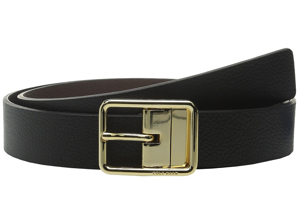 Cole Haan - 1/4 Reversible Pebble Leather Belt with Centerbar Buckle (Black/Chestnut) Women's Belts