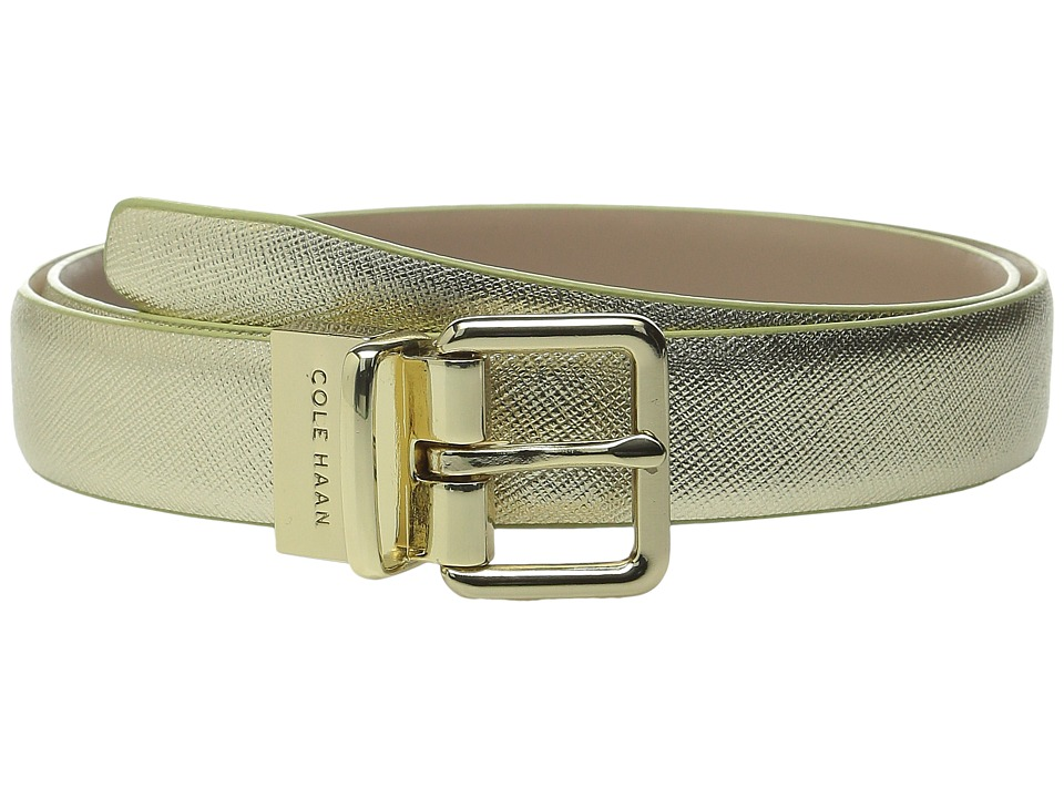 Cole Haan - 1 Reversible Caviar to Dress Calf Belt (Gold/Maple Sugar) Women's Belts