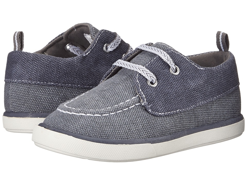 Baby Deer - Canvas Deck Shoe (Infant/Toddler) (Gray/Navy) Boy's Shoes