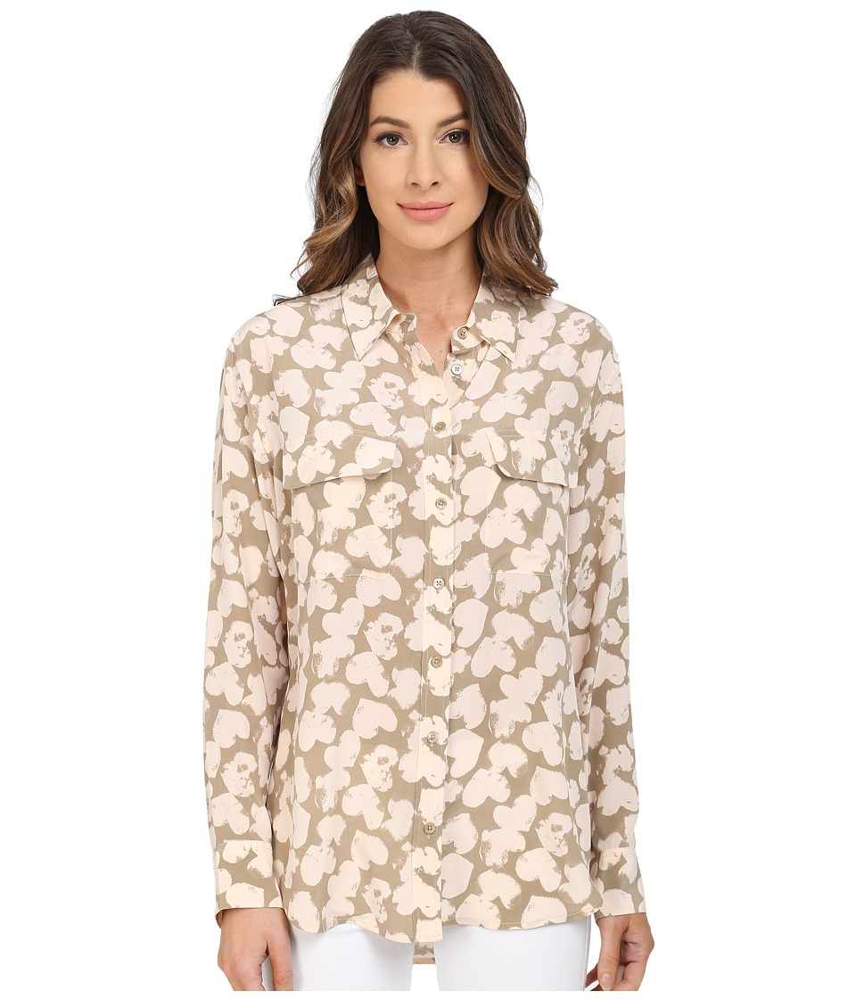 EQUIPMENT - Signature Blouse (Kelp/Nude) Women's Blouse