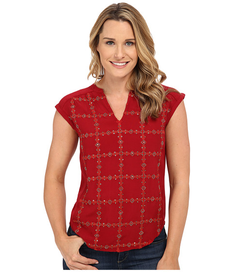 Lucky Brand - Embellished Top (Pacific Red) Women's Blouse