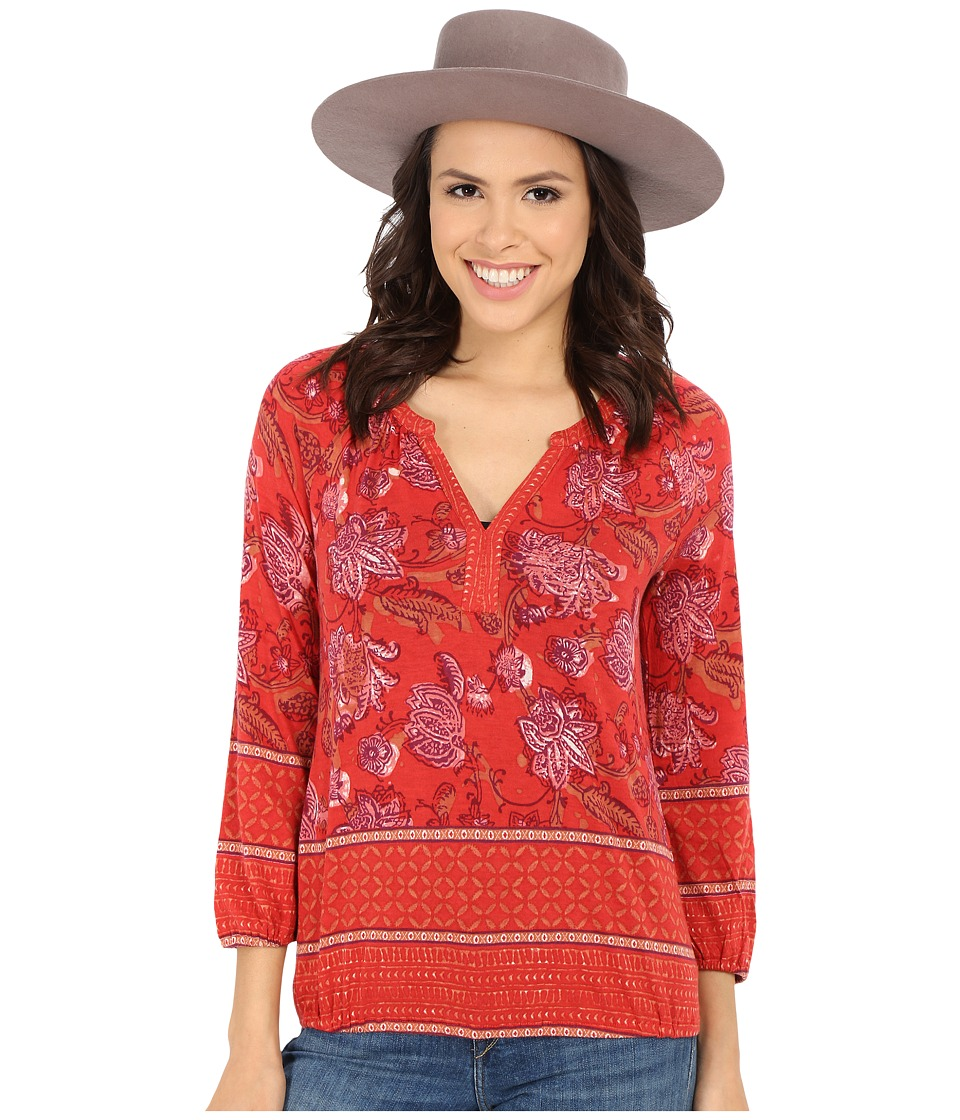 Lucky Brand - Watercolor Floral Top (Red Multi) Women's Blouse