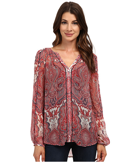 Lucky Brand - Paisley Peasant Top (Red Multi) Women's Clothing