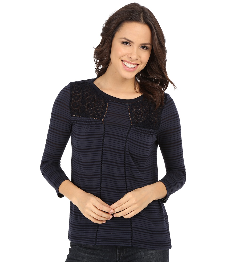 Lucky Brand Shadow Stripe Mix Top (American Navy) Women