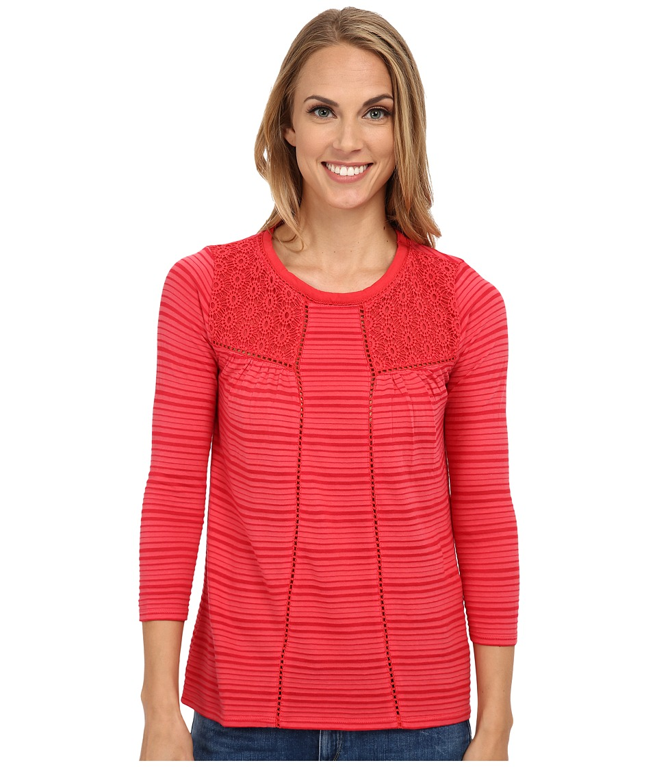 Lucky Brand - Shadow Stripe Mix Top (Vintage Rose) Women