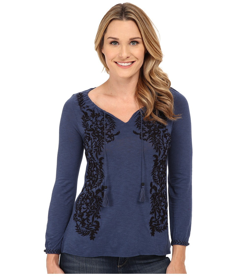 Lucky Brand Embroidered Peasant Top (Dark Vibrant Blue) Women