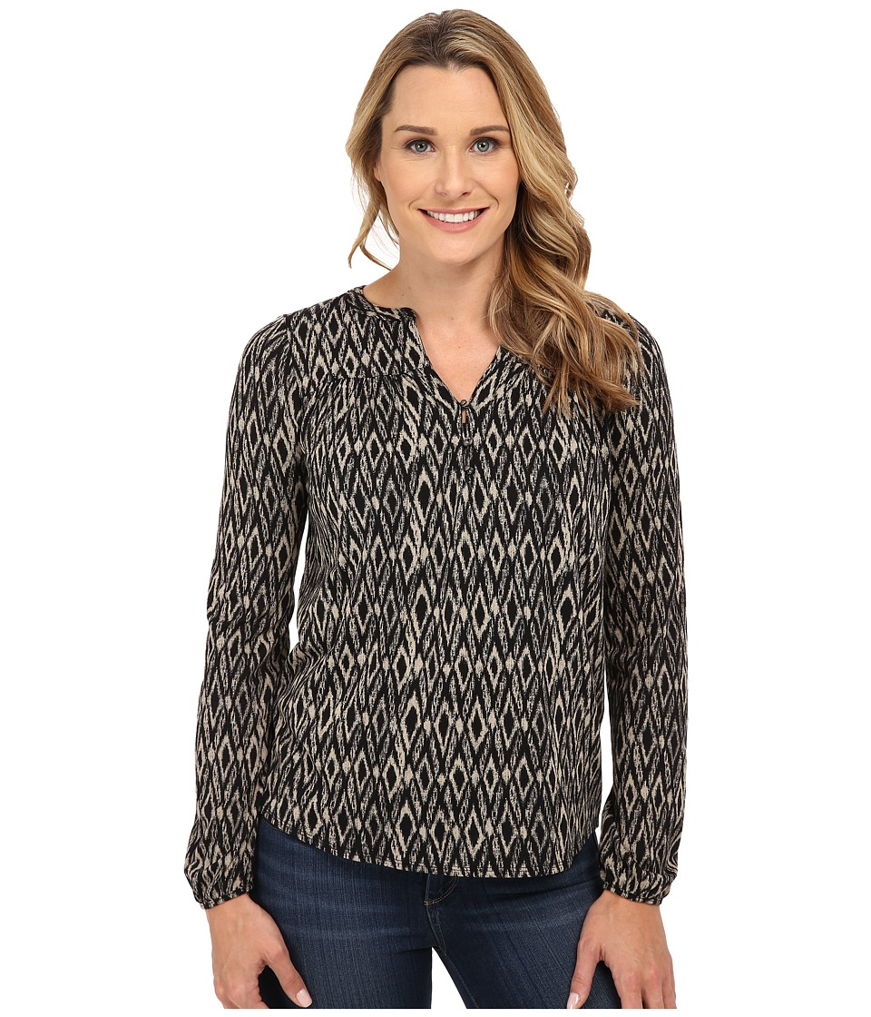 Lucky Brand - Ikat Peasant Top (Black Multi) Women's Clothing