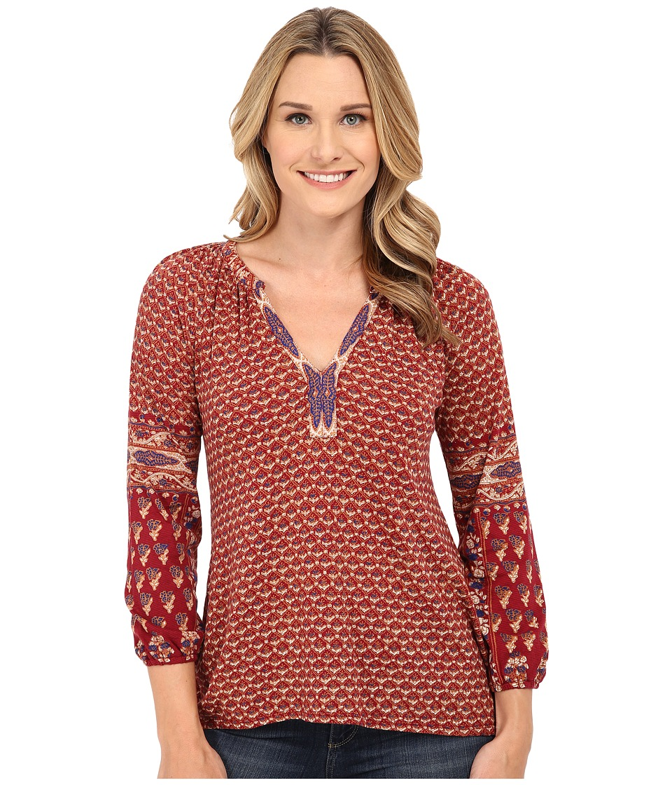 Lucky Brand - Dasha Woodblock Top (Red Multi) Women's T Shirt