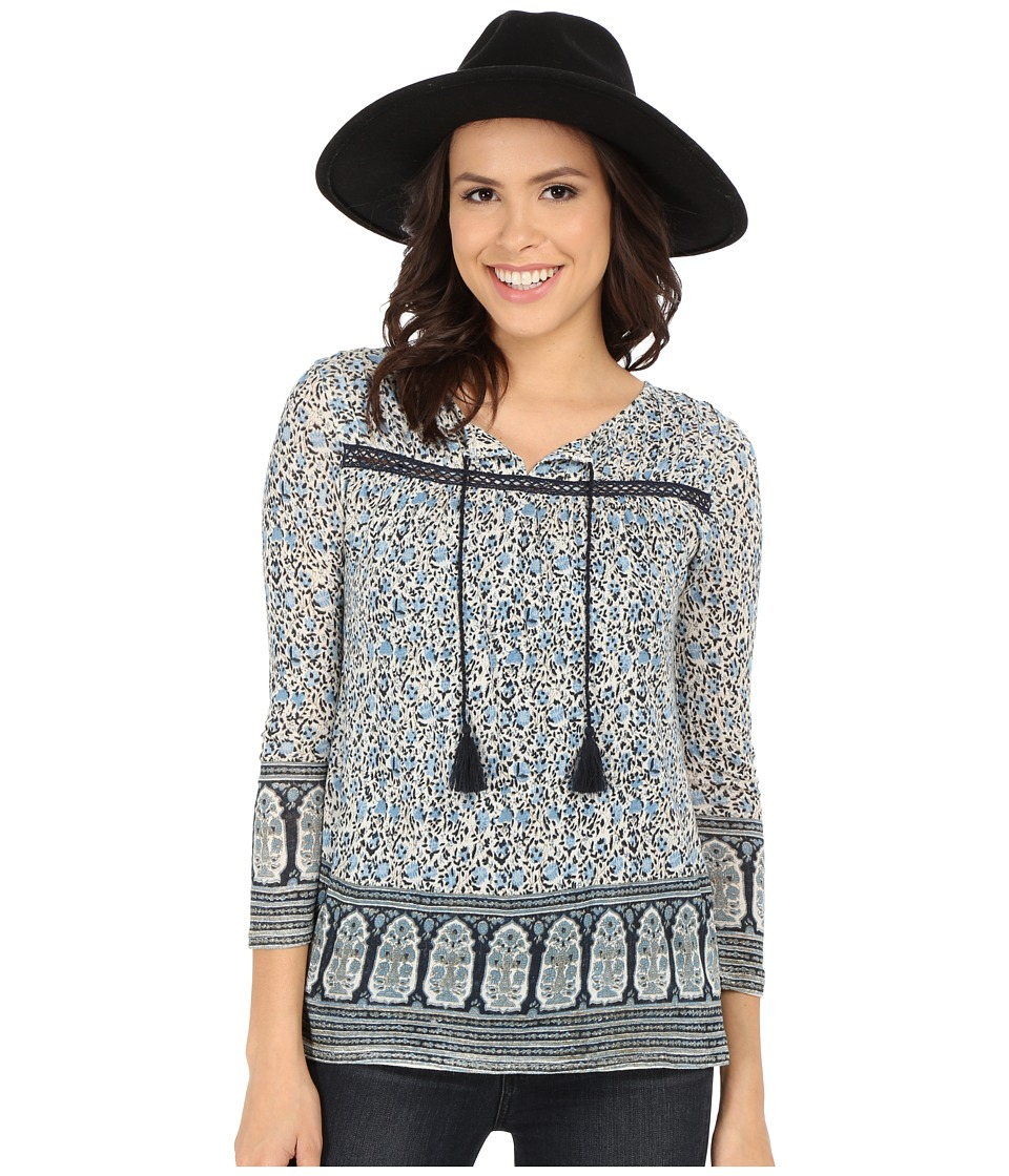 Lucky Brand - Jaipur Border Print Top (Blue Multi) Women's Blouse