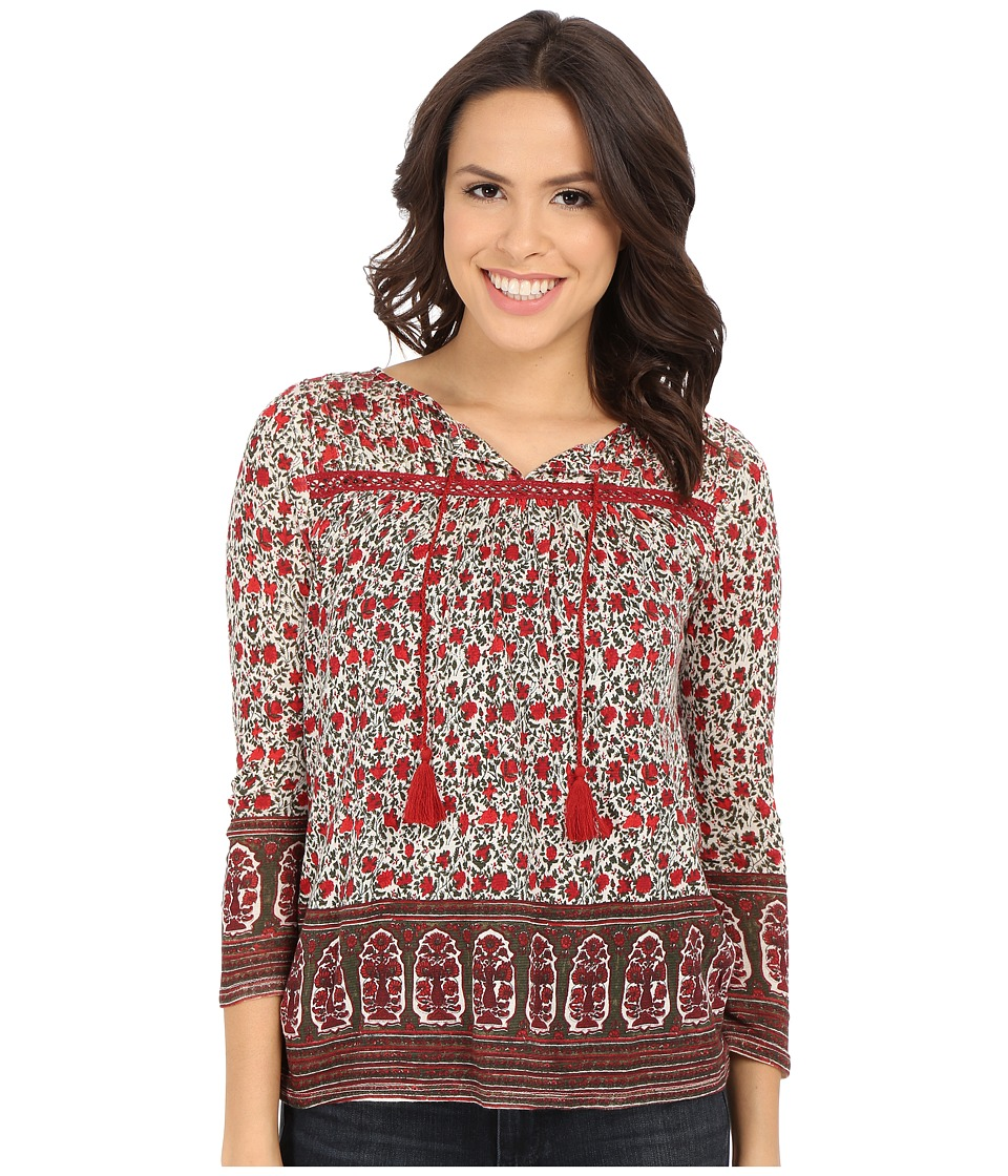 Lucky Brand - Jaipur Border Print Top (Red Multi) Women's Blouse