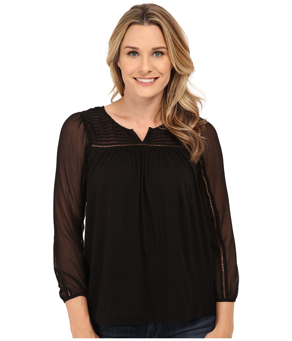 Lucky Brand - Chiffon Mixed Top (Lucky Black) Women's Blouse