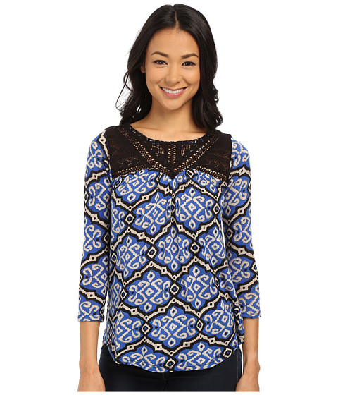 Lucky Brand - Geo Tile Top (Blue Multi) Women's Blouse
