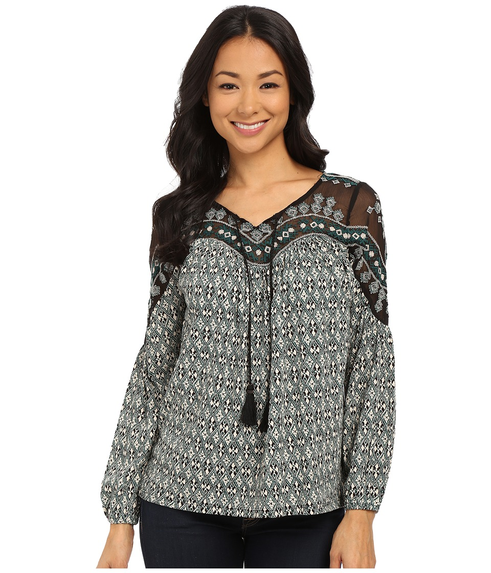 Lucky Brand - Folk Diamonds Top (Green Multi) Women's Blouse