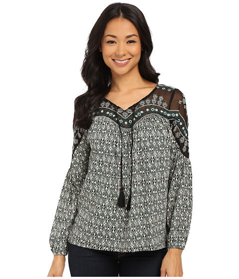 Lucky Brand - Folk Diamonds Top (Green Multi) Women
