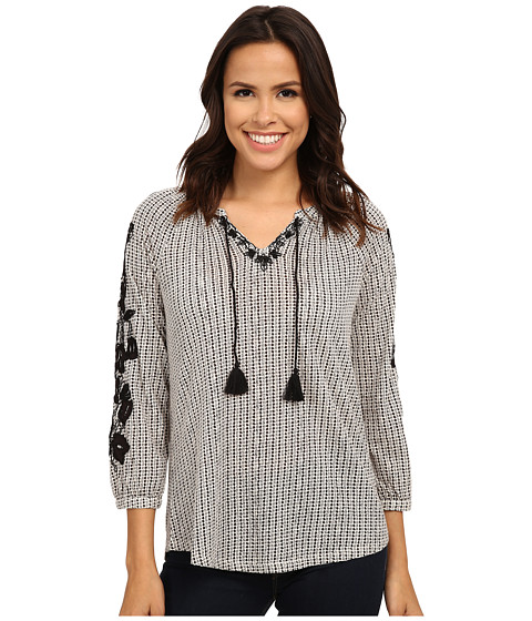 Lucky Brand - Dot Striped Top (Black Multi) Women's Clothing
