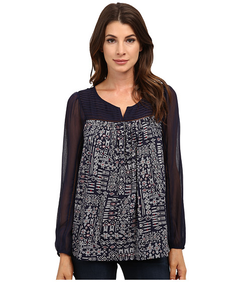 Lucky Brand - Geo Peasant Top (Navy Multi) Women's Clothing