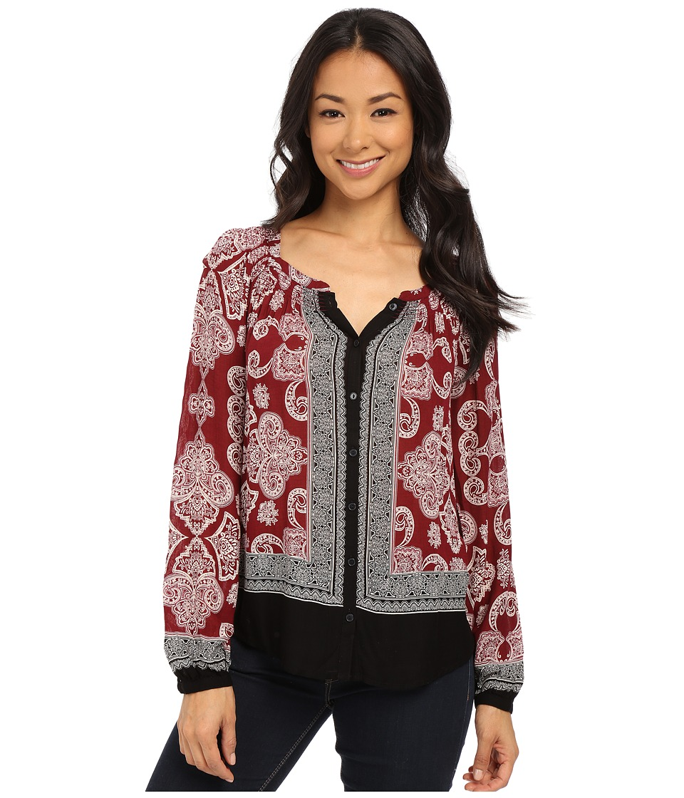 Lucky Brand - Exploded Printed Top (Red Multi) Women's Blouse