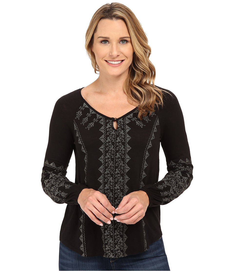 Lucky Brand Metallic Embroidered Top (Lucky Black) Women