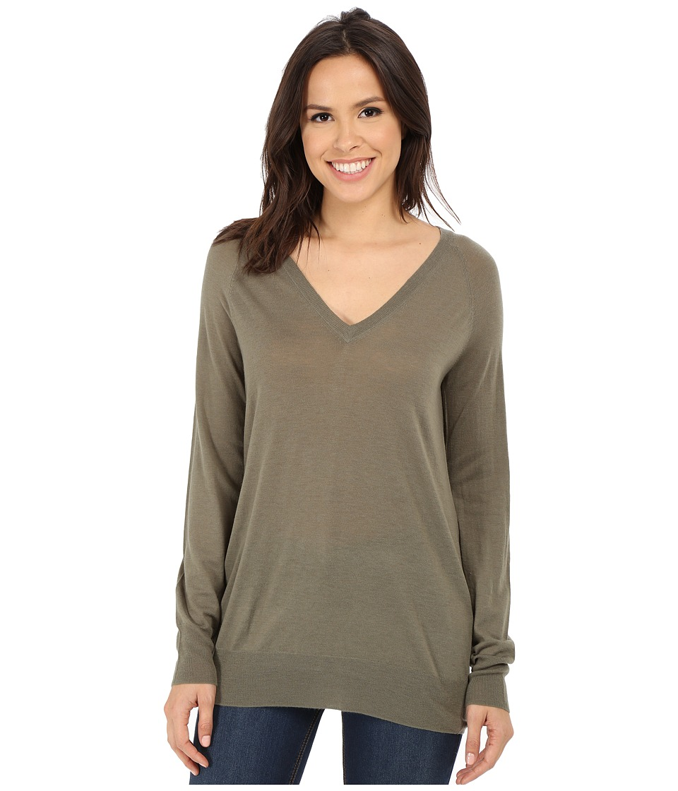 EQUIPMENT - Asher V-Neck Sweater (Dusty Olive) Women's Sweater