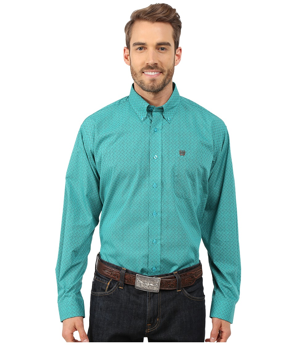 Cinch - Long Sleeve Plain Weave Print Shirt (Turquoise) Men's Long Sleeve Button Up