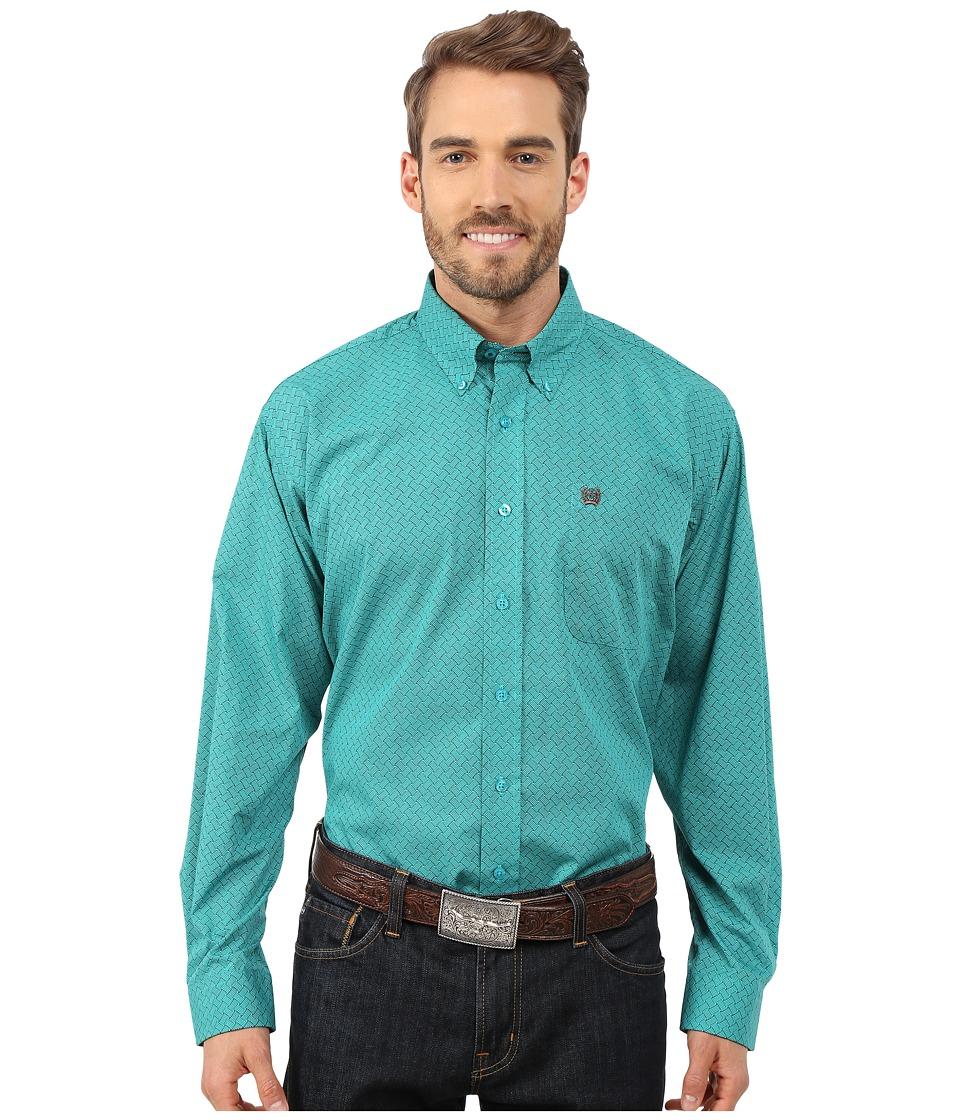 Cinch - Long Sleeve Plain Weave Print Shirt (Turquoise) Men's Long Sleeve Button Up