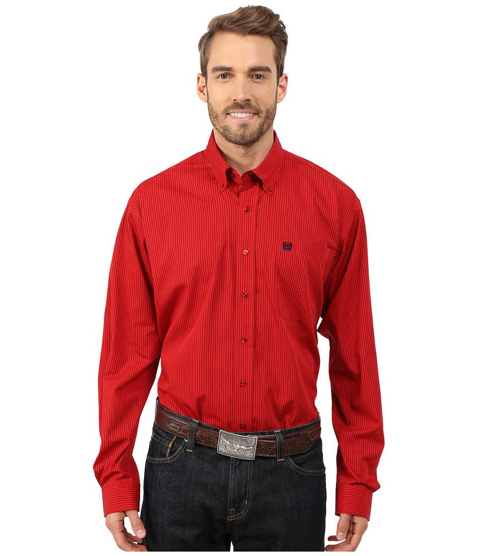 Cinch - L/S Plain Weave Stripe (Red 2) Men's Long Sleeve Button Up