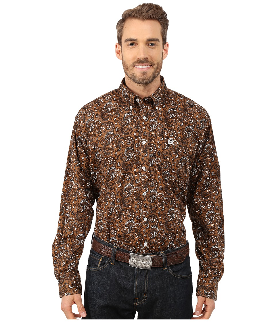 Cinch - Long Sleeve Plain Weave Print Shirt (Brown 5) Men's Long Sleeve Button Up
