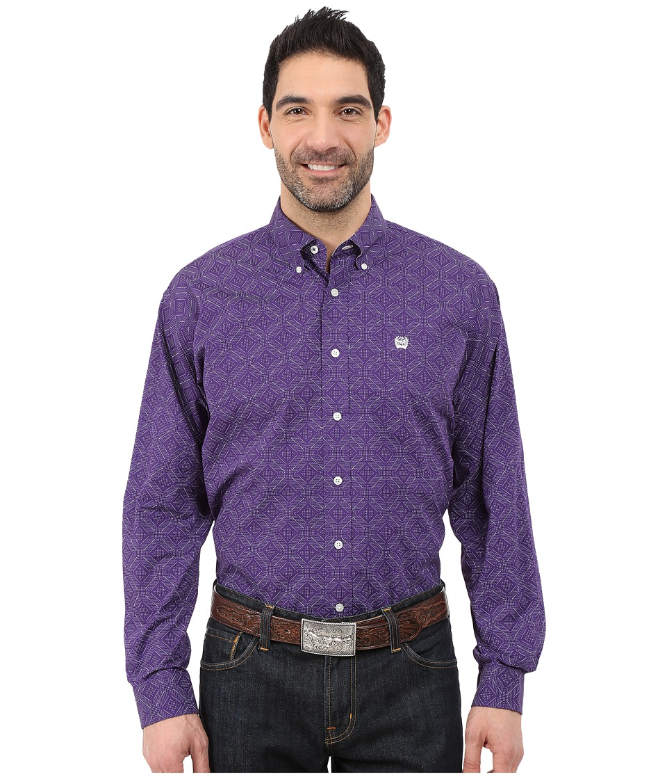Cinch - Long Sleeve Plain Weave Print Shirt (Purple 3) Men's Long Sleeve Button Up