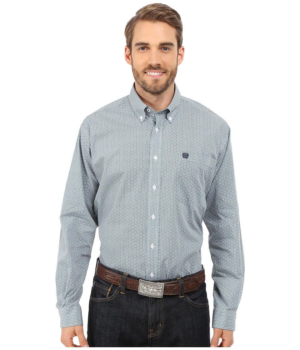 Cinch - Long Sleeve Plain Weave Print Shirt (White 9) Men