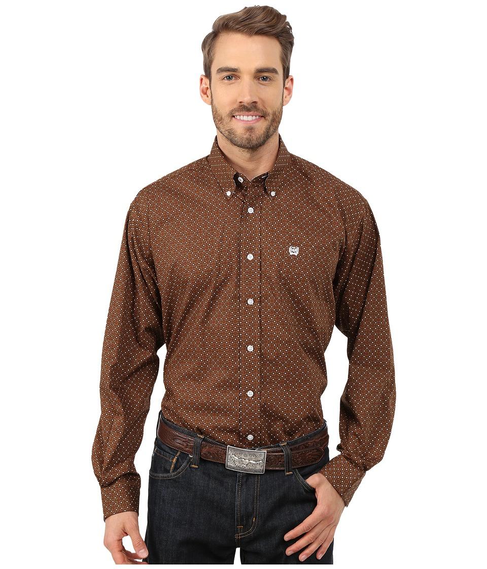 Cinch - L/S Plain Weave Stripe (Brown 6) Men's Long Sleeve Button Up