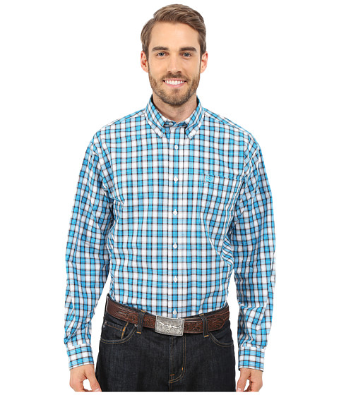 Cinch - Long Sleeve Plain Weave Plaid (White 10) Men's Long Sleeve Button Up