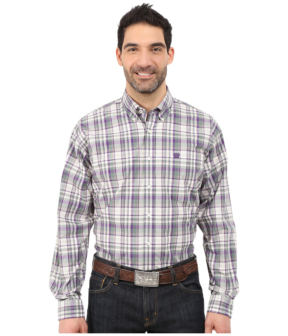Cinch - Long Sleeve Plain Weave Print Shirt (Purple 5) Men's Long Sleeve Button Up