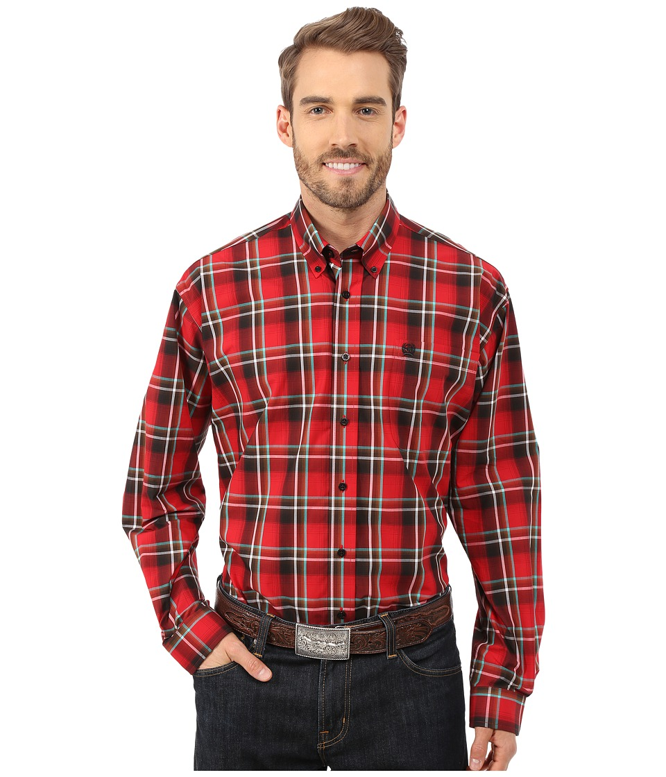 Cinch - Long Sleeve Plain Weave Plaid (Red 3) Men's Long Sleeve Button Up