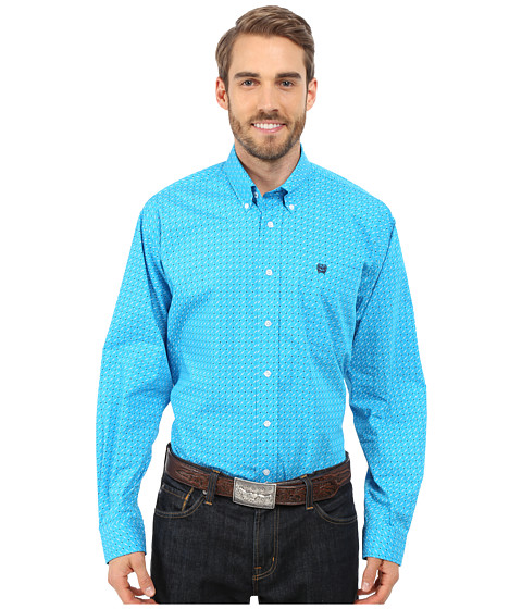 Cinch - Long Sleeve Plain Weave Print Shirt (Turquoise 4) Men's Long Sleeve Button Up