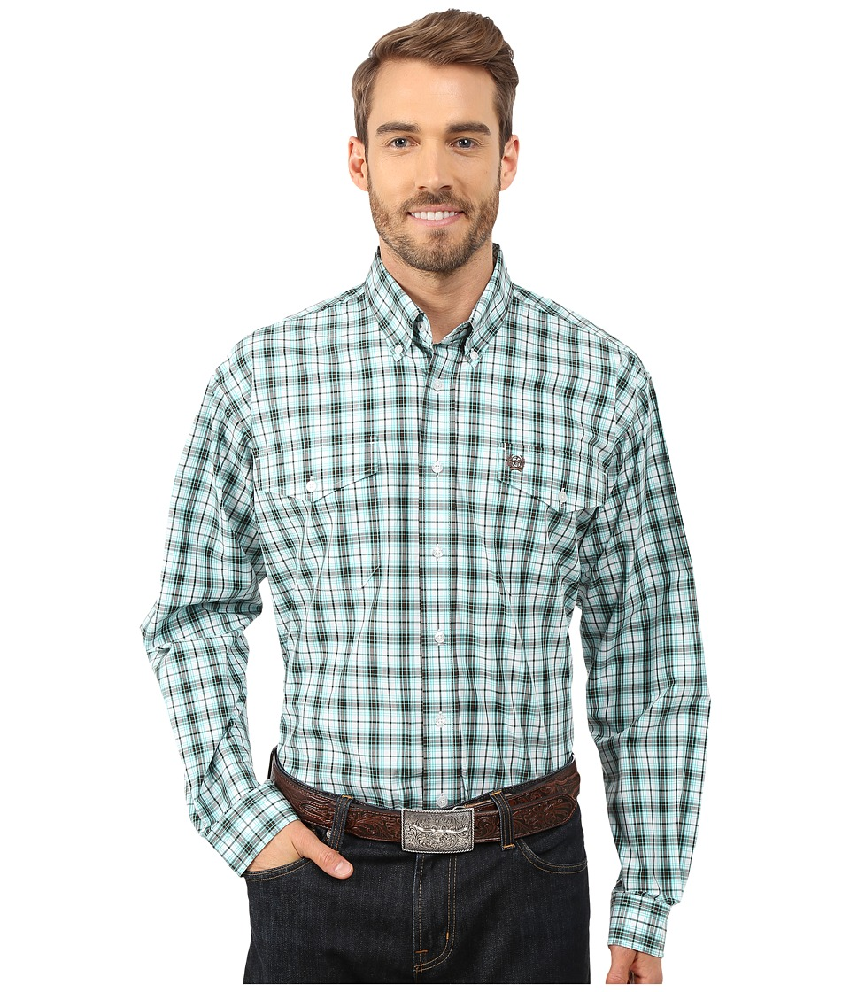 Cinch - L/S Double Weave Plaid (White 8) Men's Long Sleeve Button Up