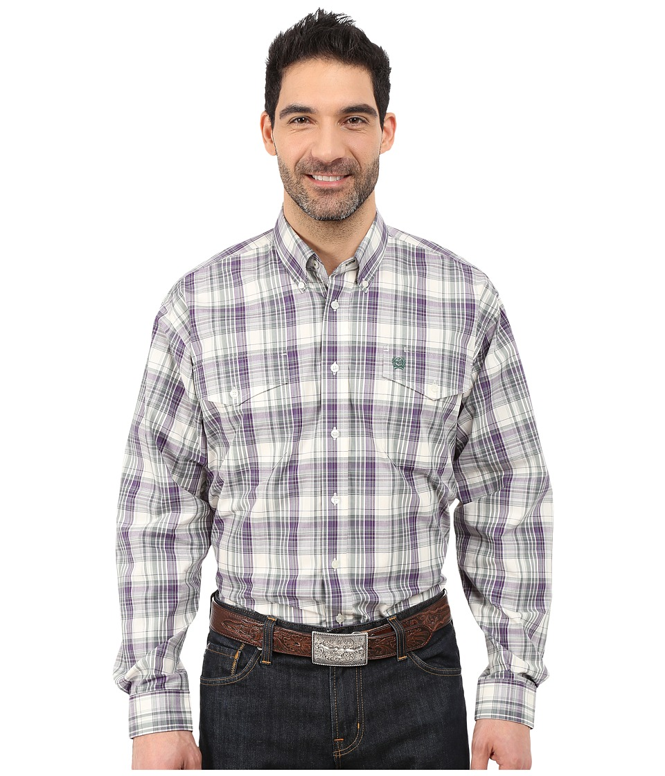 Cinch - L/S Double Weave Plaid (Cream) Men's Long Sleeve Button Up