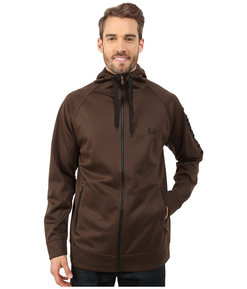 Cinch - Full Zip Hoodie w/ Raglan Sleeve (Brown) Men's Sweatshirt