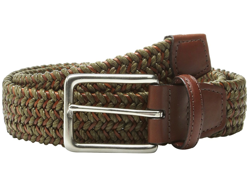 Torino Leather Co. - Italian Woven Cotton and Leather Elastic (Olive) Men's Belts