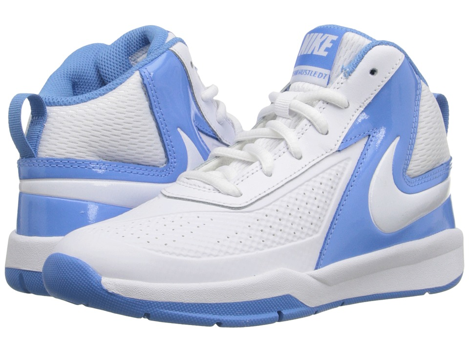 Nike Kids - Team Hustle D 7 (Little Kid) (White/University Blue/White) Boys Shoes