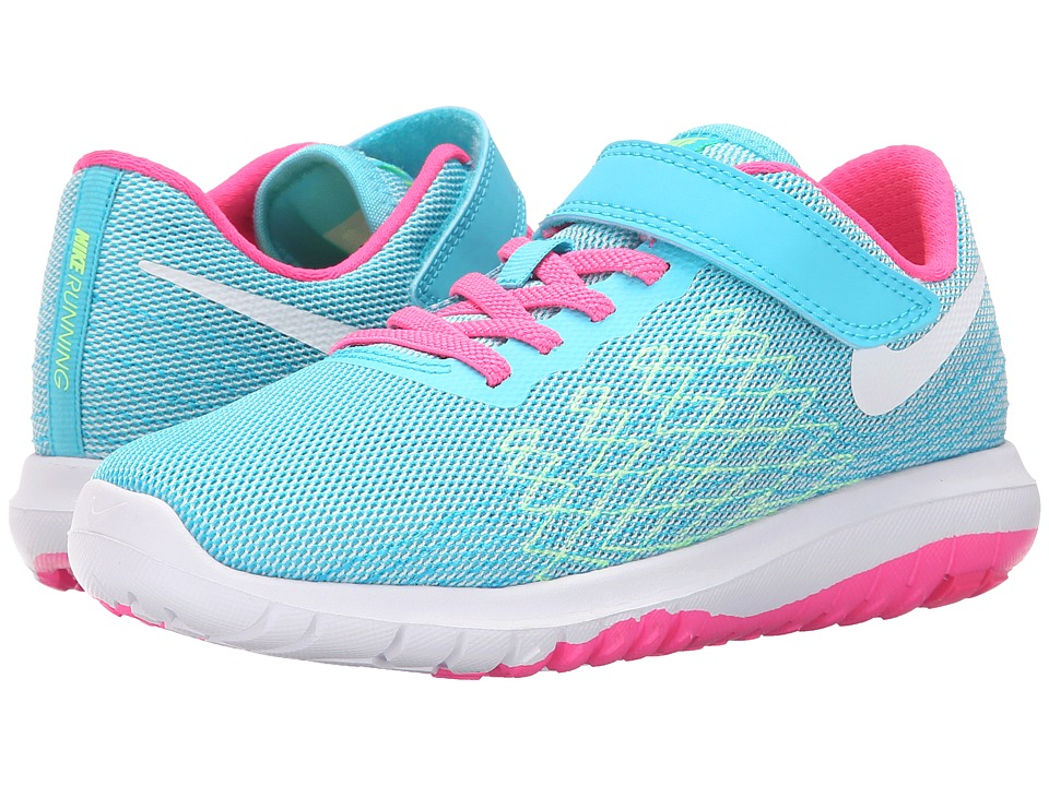 Nike Kids - Flex Fury 2 (Little Kid) (Gamma Blue/Ghost Green/ Pink Blast/White) Girls Shoes