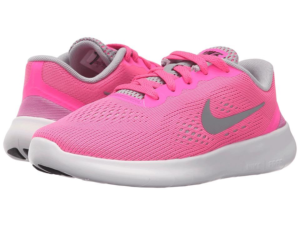 Nike Kids - Free RN (Little Kid) (Pink Blast/White/Black/Metallic Silver) Girls Shoes