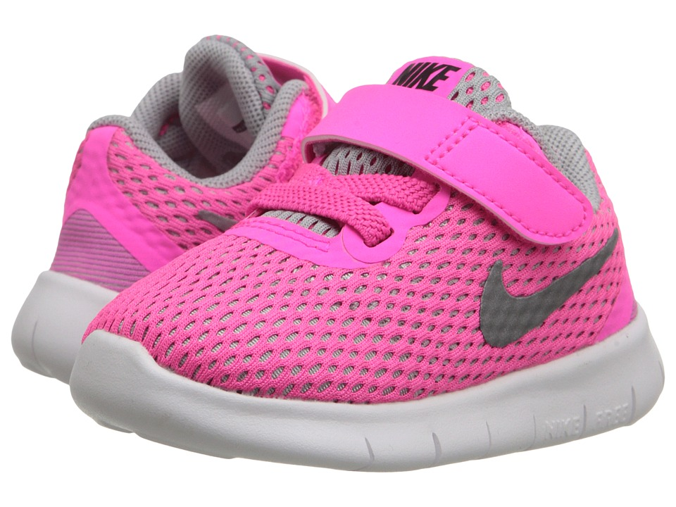 Nike Kids - Free RN (Infant/Toddler) (Pink Blast/White/Black/Metallic Silver) Girls Shoes