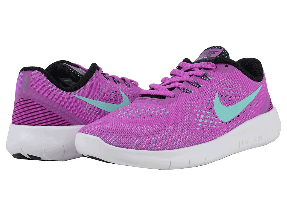 Nike Kids - Free RN (Big Kid) (Hyper Violet/Black/White/Hyper Turquoise) Girls Shoes