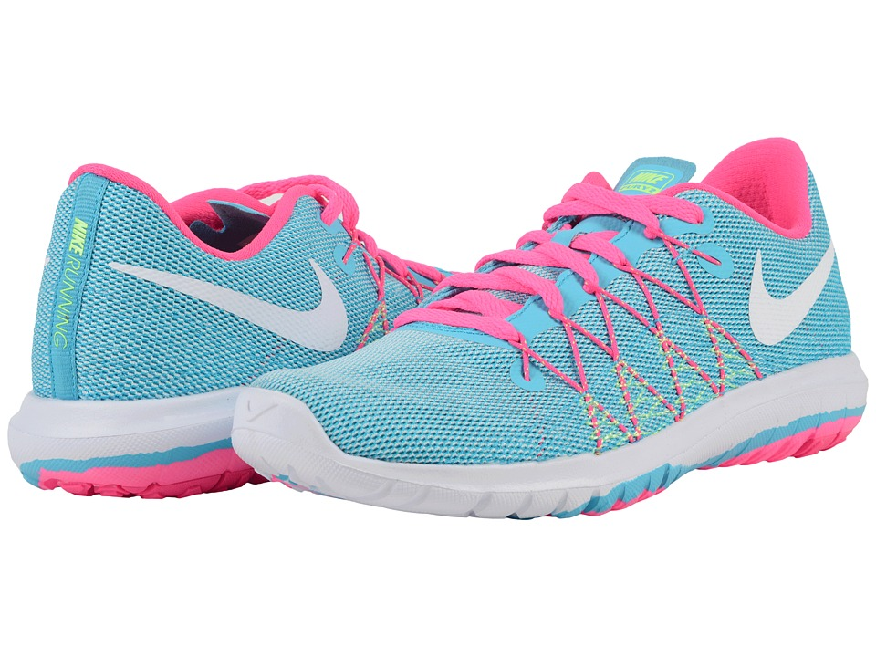 Nike Kids - Flex Fury 2 (Big Kid) (Gamma Blue/Ghost Green/Pink Blast/White) Girls Shoes